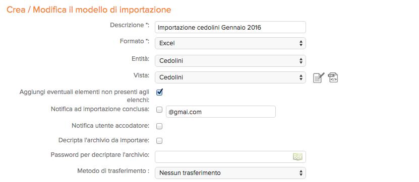screenshot del sistema di importazione