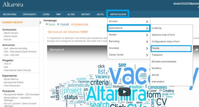 screenshot tabelle campi Altamira