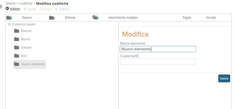 screenshot inserimento voci campo scelta multipla