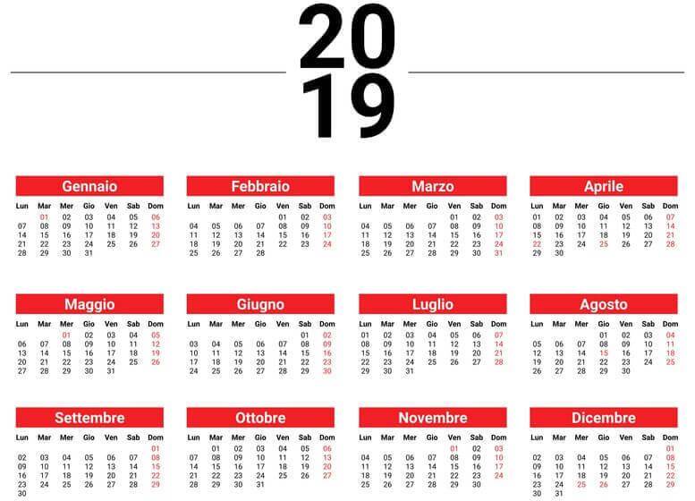 calendario 2019 piano ferie