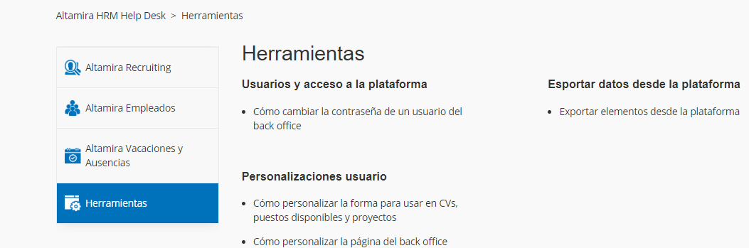 herramientas Altamira HRM