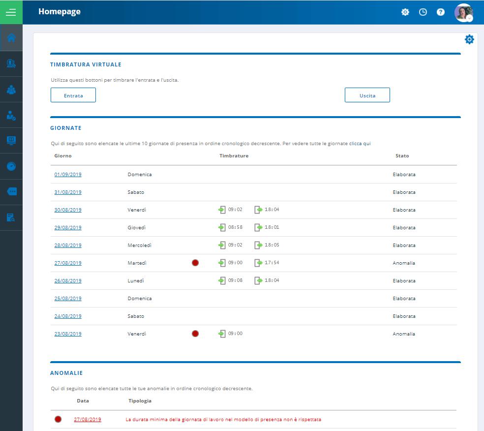 esempio di piattaforma self service per la rilevazione presenze