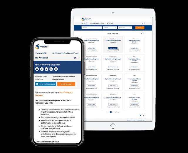 template career site Altamira su mobile