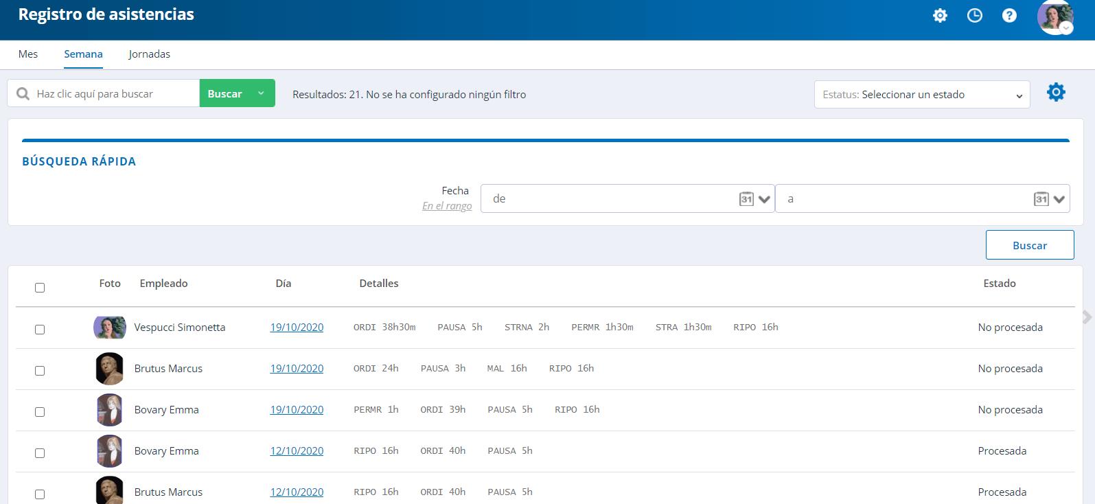 Ficha de asistencias - semana