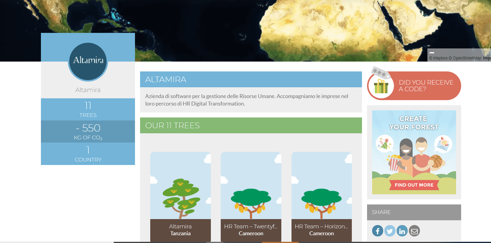 Treedom Altamira page